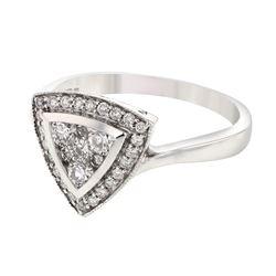 Natural 0.50 CTW Diamond Ring 18K White Gold - REF-75T6X