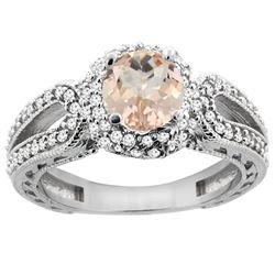 1.20 CTW Morganite & Diamond Ring 14K White Gold - REF-89A7X