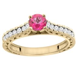 0.86 CTW Pink Topaz & Diamond Ring 14K Yellow Gold - REF-62R4H