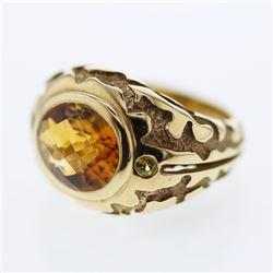 Natural 4.81 CTW Citrine & Orange Sapphire Ring 14K Yellow Gold - REF-88T2X