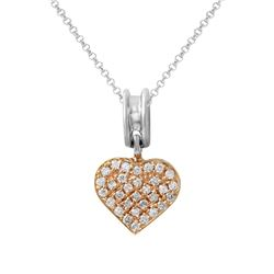 Natural 0.29 CTW Diamond Necklace 18K Two Tone Rose Gold - REF-77W4H