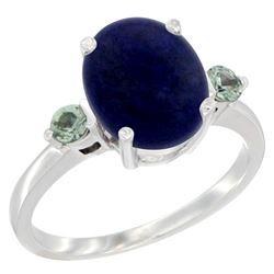 2.74 CTW Lapis Lazuli & Green Sapphire Ring 14K White Gold - REF-30R2H