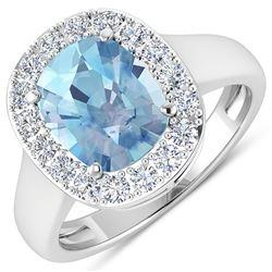Natural 3.51 CTW Aquamarine & Diamond Ring 14K White Gold - REF-96W3X