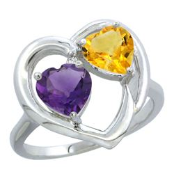 2.61 CTW Diamond, Amethyst & Citrine Ring 14K White Gold - REF-33M9A