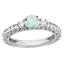 1.10 CTW Aquamarine & Diamond Ring 14K White Gold - REF-81M4A