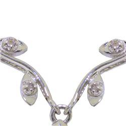 Genuine 1.02 ctw Emerald & Diamond Necklace 14KT White Gold - REF-37H2X