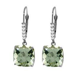 Genuine 7.35 ctw Green Amethyst & Diamond Earrings 14KT White Gold - REF-57N3R