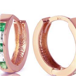 Genuine 1.26 ctw Emerald & White Topaz Earrings 14KT Rose Gold - REF-43T4A