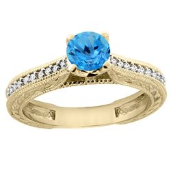 0.71 CTW Swiss Blue Topaz & Diamond Ring 14K Yellow Gold - REF-53W2F