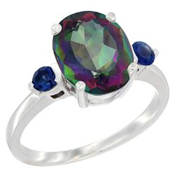 2.64 CTW Mystic Topaz & Blue Sapphire Ring 14K White Gold - REF-32A3X