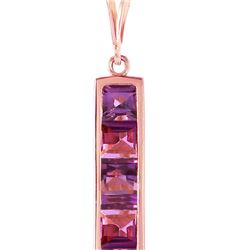 Genuine 2.25 ctw Amethyst Necklace 14KT Rose Gold - REF-36Y9F