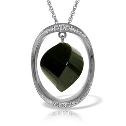 Genuine 15.6 ctw Black Spinel & Diamond Necklace 14KT White Gold - REF-107H8X