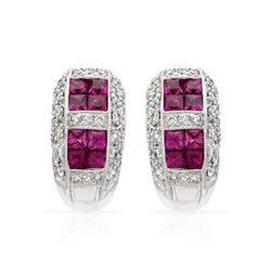 Natural 2.10 CTW Ruby & Diamond Earrings 18K White Gold - REF-144N2Y