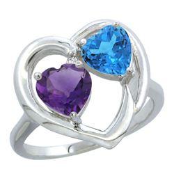 2.61 CTW Diamond, Amethyst & Swiss Blue Topaz Ring 10K White Gold - REF-23M7A