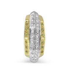 Natural 0.46 CTW Yellow Sapphire & Diamond Pendant 14K 2Tone Gold - REF-59N4Y
