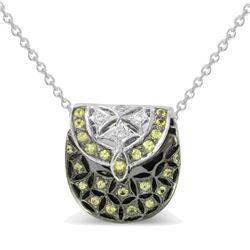 Natural 0.33 CTW Yellow Sapphire & Diamond Pendant 14K White Gold - REF-58W5H