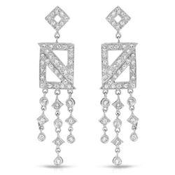 Natural 0.95 CTW Diamond Earrings 18K White Gold - REF-127K8R