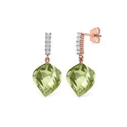 Genuine 26.15 ctw Green Amethyst & Diamond Earrings 14KT Rose Gold - REF-61H2X