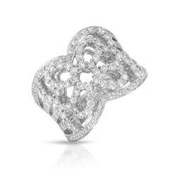 Natural 1.14 CTW Diamond Ring 18K White Gold - REF-208F8M