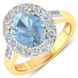 Natural 2.5 CTW Aquamarine & Diamond Ring 14K Yellow Gold - REF-94H5M