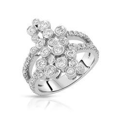 Natural 0.93 CTW Diamond Ring 14K White Gold - REF-116W3H