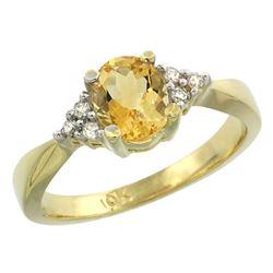 1.06 CTW Citrine & Diamond Ring 10K Yellow Gold - REF-28M4K