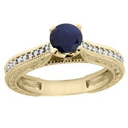 0.75 CTW Blue Sapphire & Diamond Ring 14K Yellow Gold - REF-63Y9V