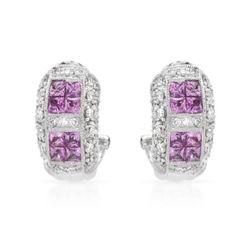 Natural 1.92 CTW Pink Sapphire & Diamond Earrings 18K White Gold - REF-147F6M