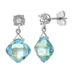 Genuine 17.56 ctw Blue Topaz & Diamond Earrings 14KT White Gold - REF-48Y3F