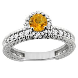 0.77 CTW Citrine & Diamond Ring 14K White Gold - REF-65F7N