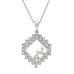 Natural 0.39 CTW Diamond Necklace 18K White Gold - REF-92K7R