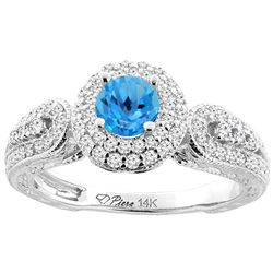 1.06 CTW Swiss Blue Topaz & Diamond Ring 14K White Gold - REF-88F8N