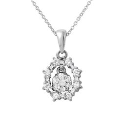Natural 0.50 CTW Diamond & Baguette Necklace 14K White Gold - REF-54N2Y