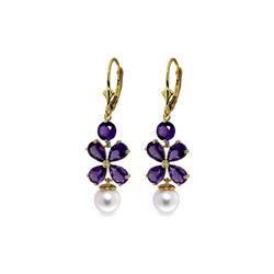 Genuine 6.28 ctw Amethyst & Pearl Earrings 14KT Yellow Gold - REF-49A8K