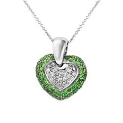 Natural 1.63 CTW Tsavorite & Diamond Necklace 14K White Gold - REF-98N3Y
