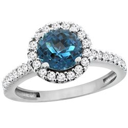 1.38 CTW London Blue Topaz & Diamond Ring 14K White Gold - REF-61M2K