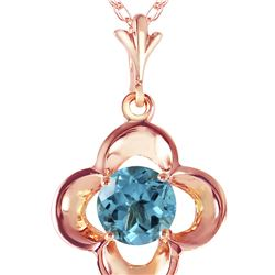 Genuine 0.55 ctw Blue Topaz Necklace 14KT Rose Gold - REF-23F6Z
