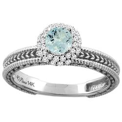 0.67 CTW Aquamarine & Diamond Ring 14K White Gold - REF-54F5N