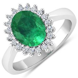 Natural 2.39 CTW Zambian Emerald & Diamond Ring 14K White Gold - REF-51H2M
