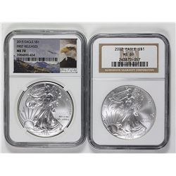NGC GRADED AMERICAN SILVER EAGLES