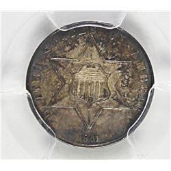 1861 THREE CENT SILVER