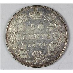1871 CANADA SILVER HALF DOLLAR