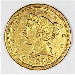 1843-C $5.00 GOLD