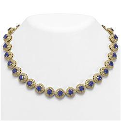82.17 ctw Sapphire & Diamond Victorian Necklace 14K Yellow Gold - REF-1800H2R
