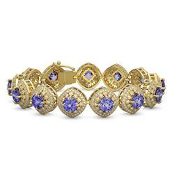 38.1 ctw Tanzanite & Diamond Victorian Bracelet 14K Yellow Gold - REF-1136G8W