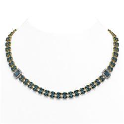 37.96 ctw London Topaz & Diamond Necklace 14K Yellow Gold - REF-436M4G