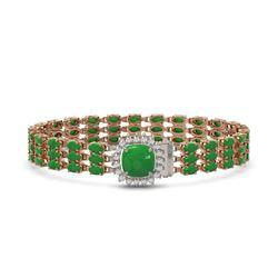 20.93 ctw Jade & Diamond Bracelet 14K Rose Gold - REF-281G8W