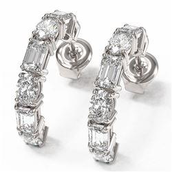4.86 ctw Emerald & Oval Cut Diamond Earrings 18K White Gold - REF-710K3Y