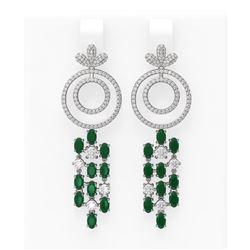11.72 ctw Emerald & Diamond Earrings 18K White Gold - REF-525R5K