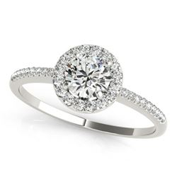 1.2 ctw Certified VS/SI Diamond Halo Ring 18k White Gold - REF-265A6N